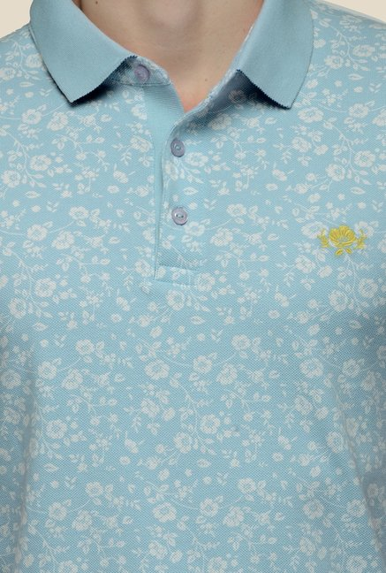 United Colors of Benetton Blue Floral Print Polo T-shirt