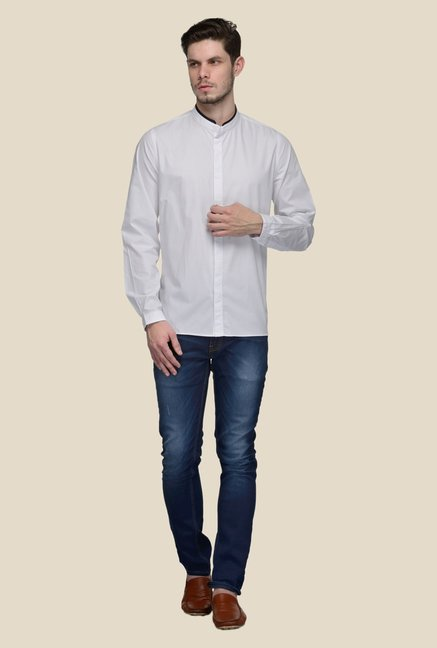 United Colors of Benetton White Mandarin Collar Solid Shirt