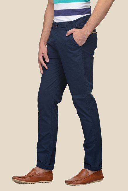 United Colors of Benetton Blue Solid Trouser