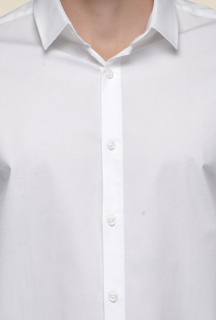United Colors of Benetton White Full Sleeve Solid Shirt