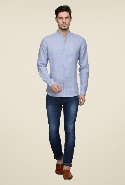 United Colors of Benetton Blue Linen Solid Shirt
