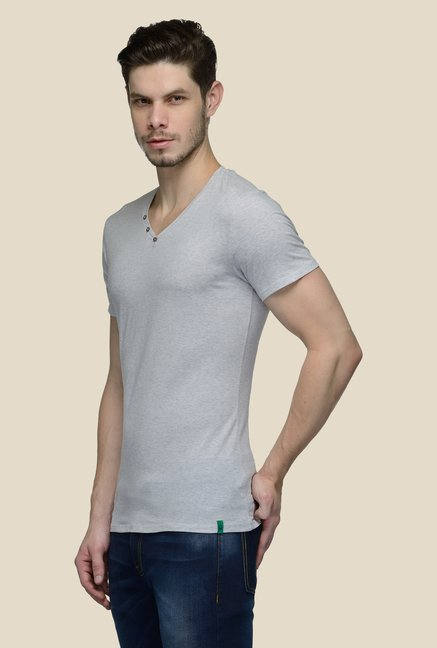 United Colors of Benetton Grey V Neck T-shirt