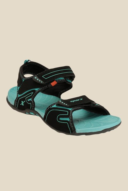 Sparx Black & Sea Green Floater Sandals