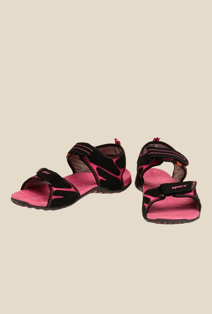 Sparx Black & Magenta Pink Floater Sandals