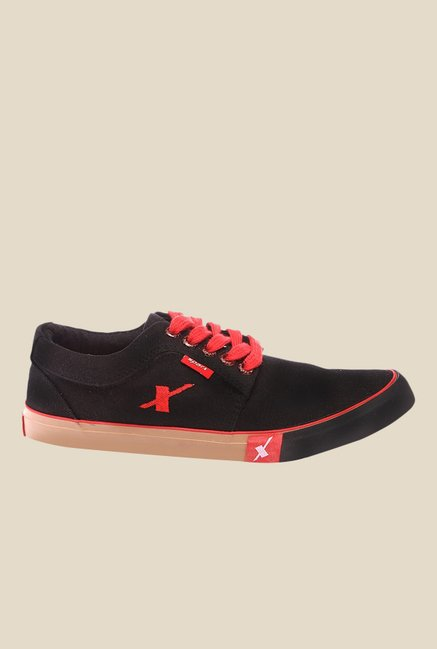 Sparx Black & Red Sneakers