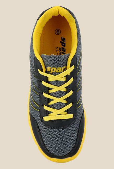 Sparx Grey & Yellow Running Shoes