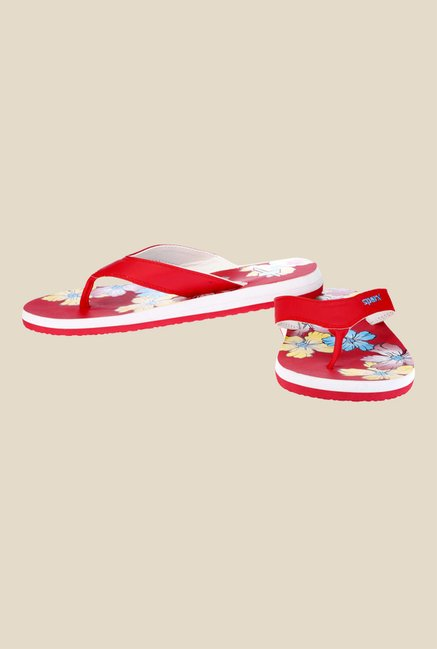 Sparx Red & White Flip Flops