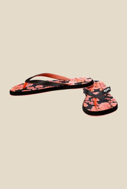Sparx Black & Orange Flip Flops