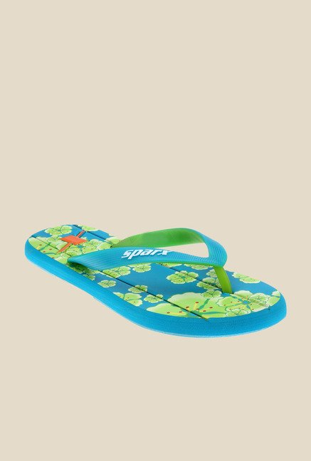 Sparx Turquoise & Green Flip Flops