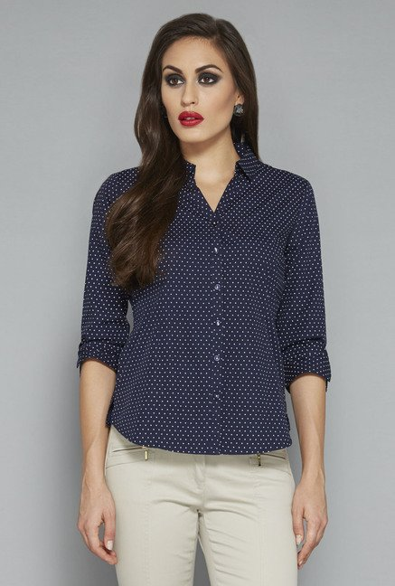 Wardrobe by Westside Navy Polka Dot Shirt