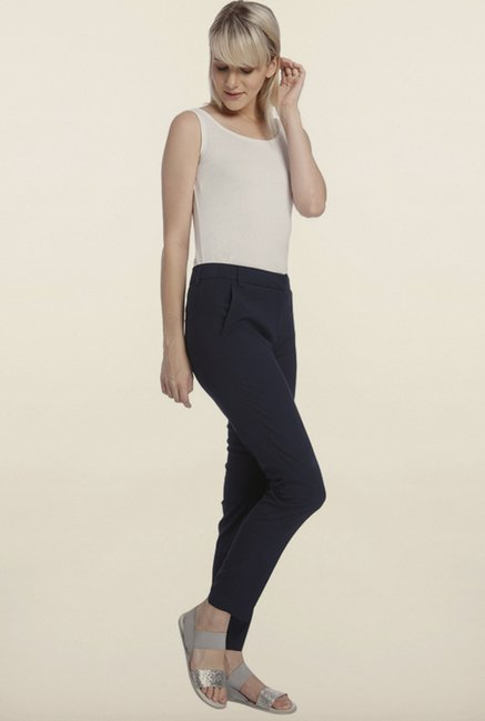 Vero Moda Navy Solid Slim Fit Pants