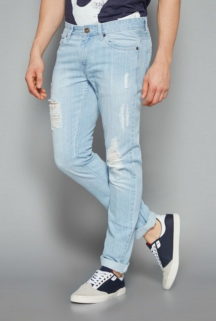 Nuon by Westside Light Blue Slim Fit Hendrix Jeans
