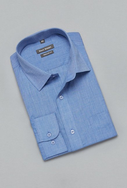 Weststreet by Westside Blue Solid Shirt