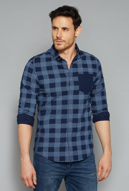 Nuon by Westside Blue Checks Shirt