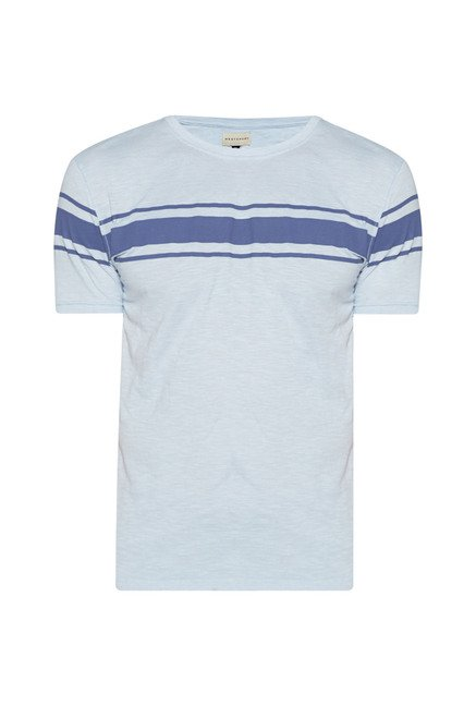 Westsport by Westside Sky Blue Striped T Shirt