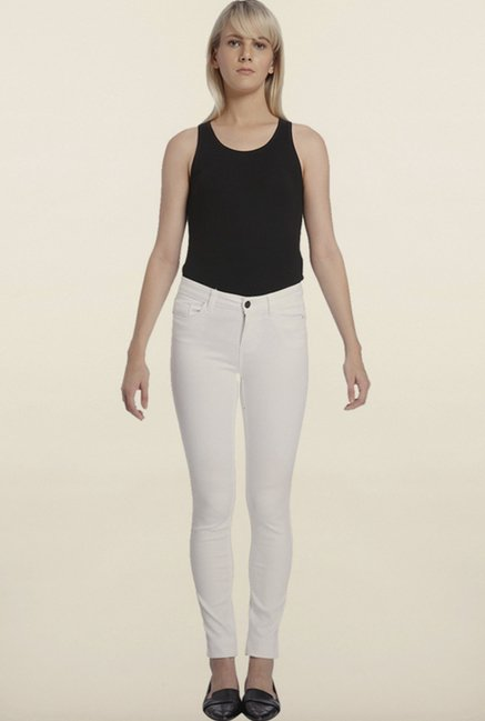 Vero Moda White Solid Pants
