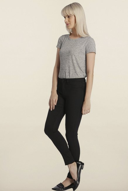 Vero Moda Black Solid Cotton Pants