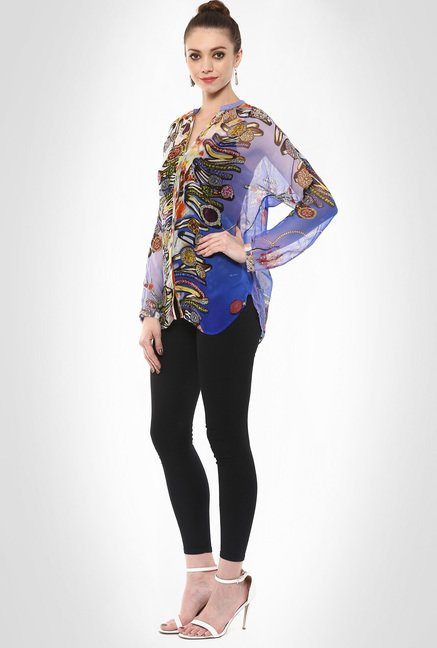 Pashma Designer Wear Semi-Sheer Printed Shirt By Kimaya