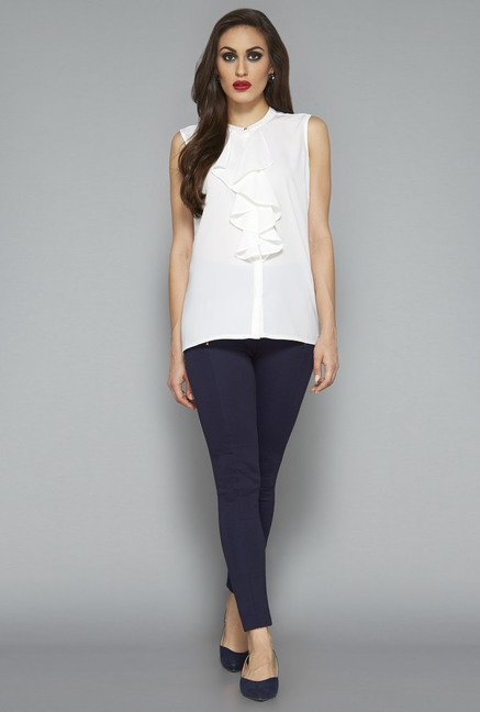 Wardrobe by Westside White Solid Blouse