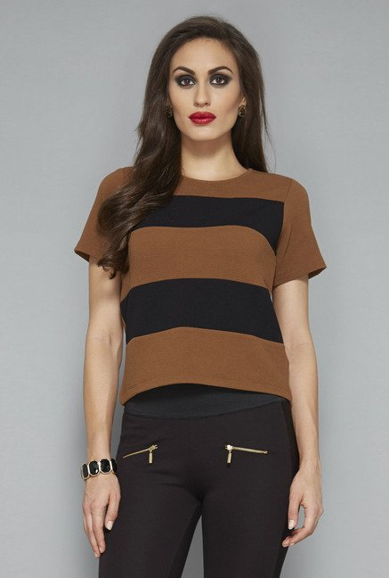 Wardrobe by Westside Brown Striped Top