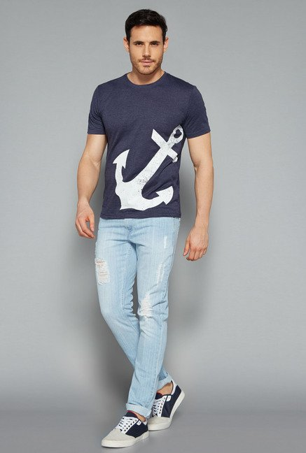 Nuon by Westside Navy Printed T Shirt