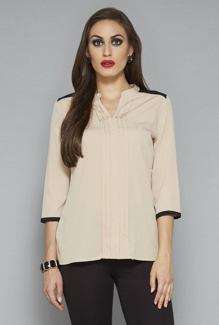 Wardrobe by Westside Beige Solid Blouse