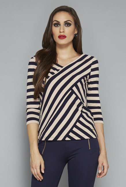 Wardrobe by Westside Navy & Beige Striped Top