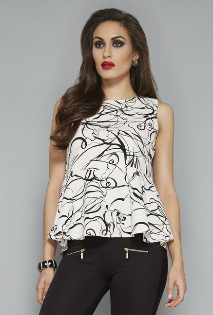 Wardrobe by Westside Off White Printed Blouse
