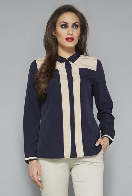 Wardrobe by Westside Navy Solid Blouse