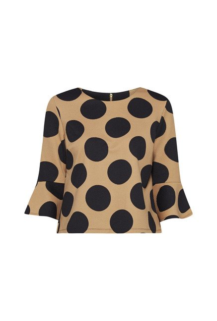 Wardrobe by Westside Beige Polka Dot Blouse