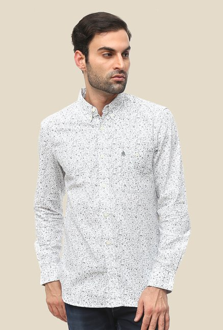FCUK White Cotton Full Sleeve Printed Shirt