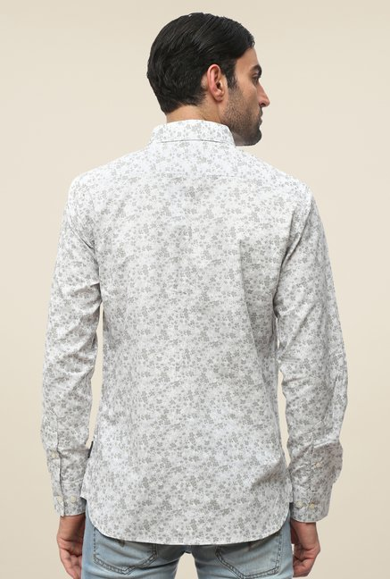FCUK White Slim Fit Printed Shirt