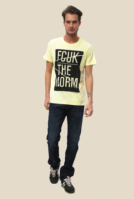 FCUK Yellow Printed T Shirt