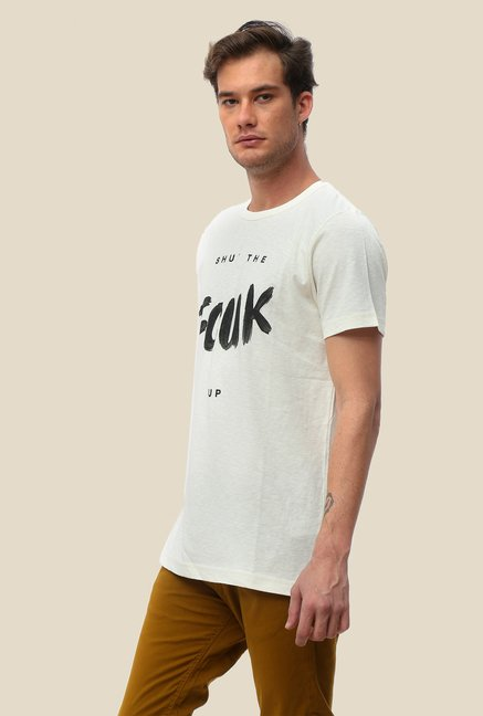 FCUK White Printed T Shirt