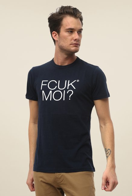 FCUK Navy Printed T Shirt