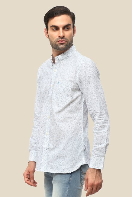 FCUK White Full Sleeve Printed Shirt