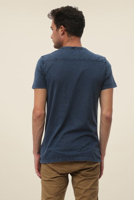 FCUK Blue Solid Round Neck T Shirt