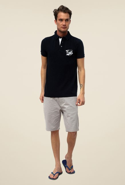 FCUK Black Solid T Shirt
