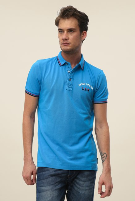 FCUK Blue Solid Short Sleeve Slim Fit T Shirt