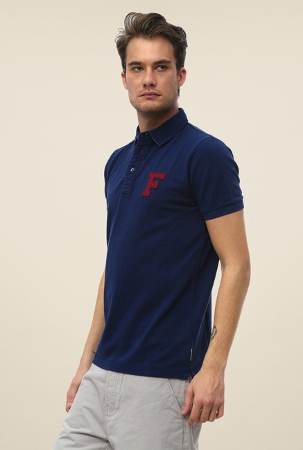 FCUK Blue Solid T Shirt