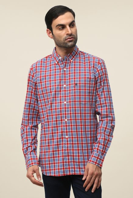 FCUK Red Full Sleeve Checks Shirt