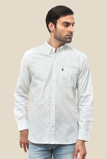FCUK White Cotton Printed Shirt