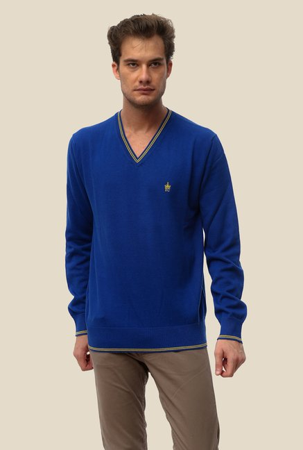 FCUK Blue Solid Sweatshirt