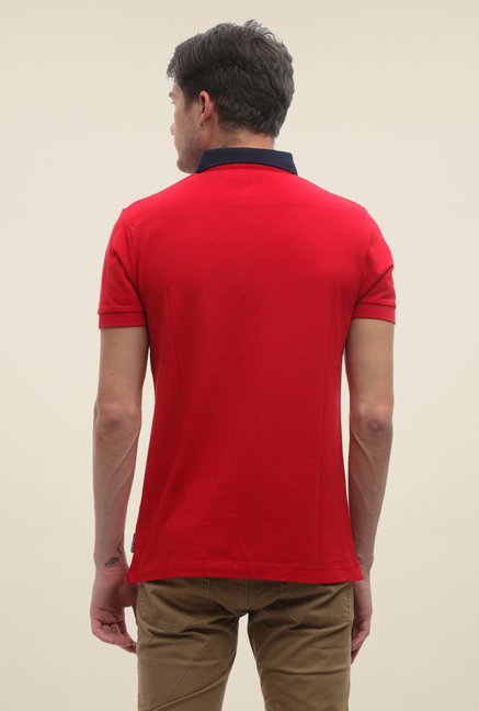 FCUK Red Solid Slim Fit T Shirt