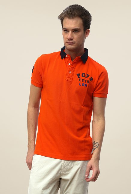 FCUK Orange Solid Slim Fit T Shirt