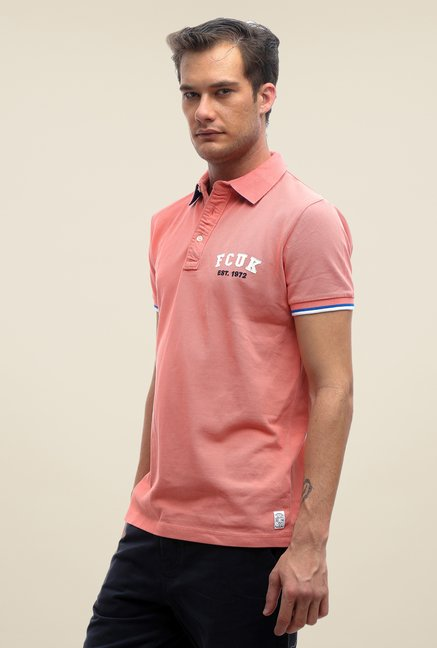 FCUK Pink Solid T Shirt