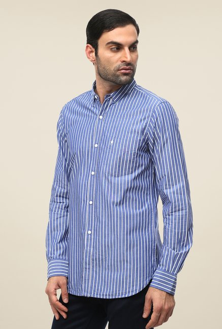 FCUK Blue Full Sleeve Striped Shirt