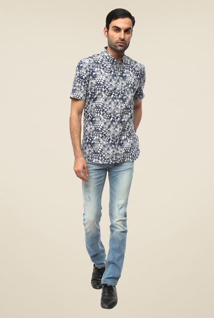 FCUK Grey Geometric Print Shirt