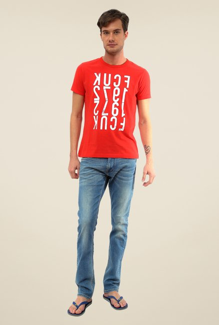 FCUK Red Printed T Shirt