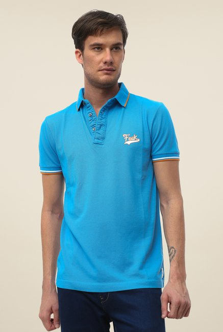 FCUK Blue Solid Short Sleeve T Shirt